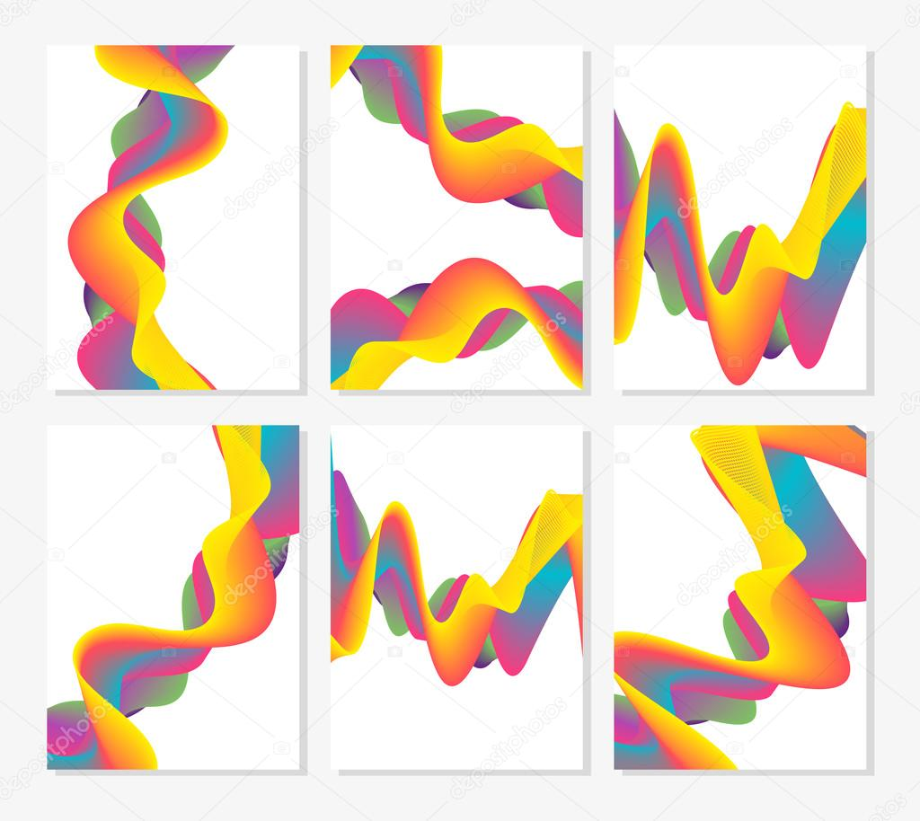 Set of six abstract cards with liquid lines. Applicable for covers, placards, posters, flyers and banner designs.