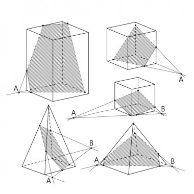 Math picture - sections of polyhedra. Geometry background.