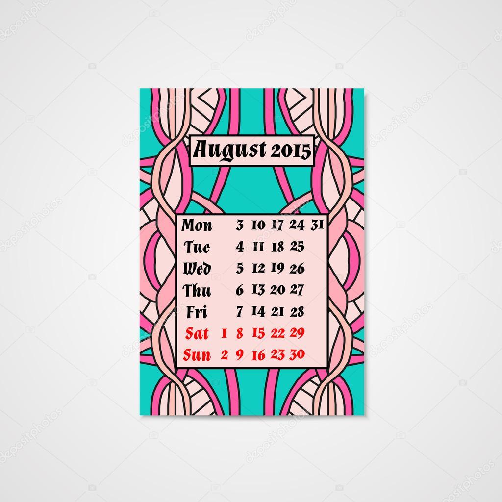 Calendar Design Pattern : Takvim tasarımı ile soyut desen doodle — stok vektör