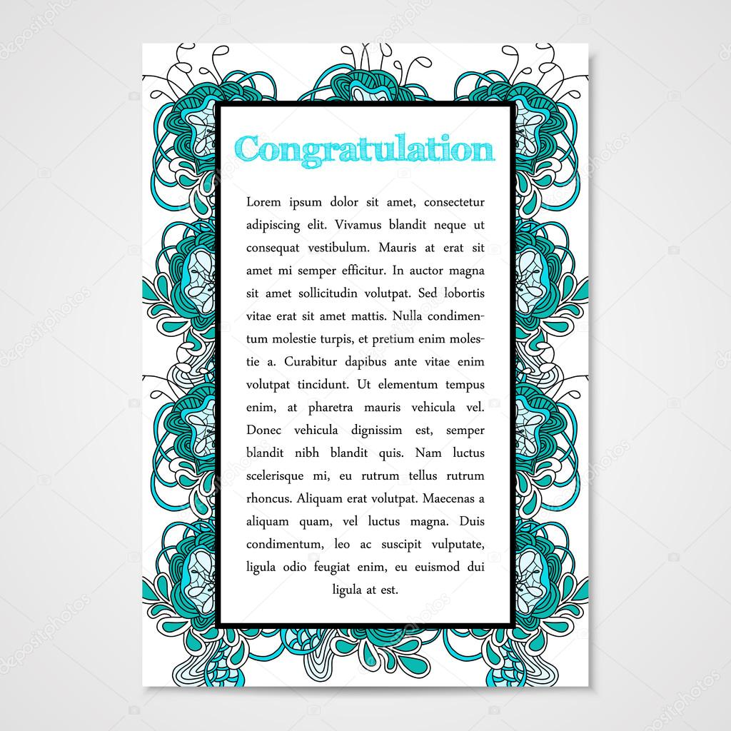 Graphic design template document with hand drawn ornament