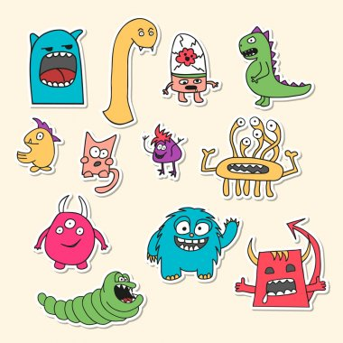 Set of stickers with doodle monsters.