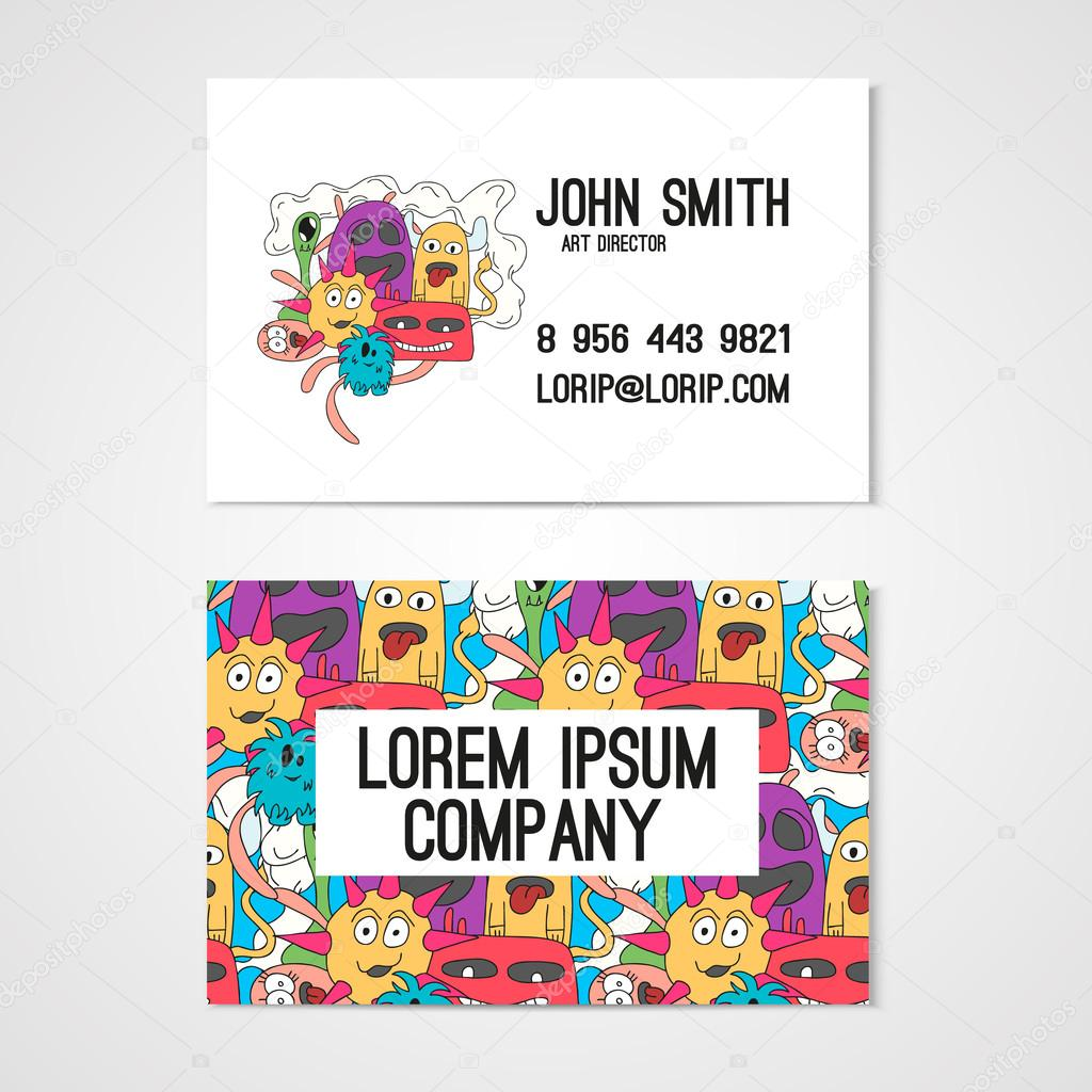 Business card template whit funny doodle monstes corporate identity business card template whit funny doodle monstes corporate identity illustration in bright colors vector by nuclearlily friedricerecipe Image collections