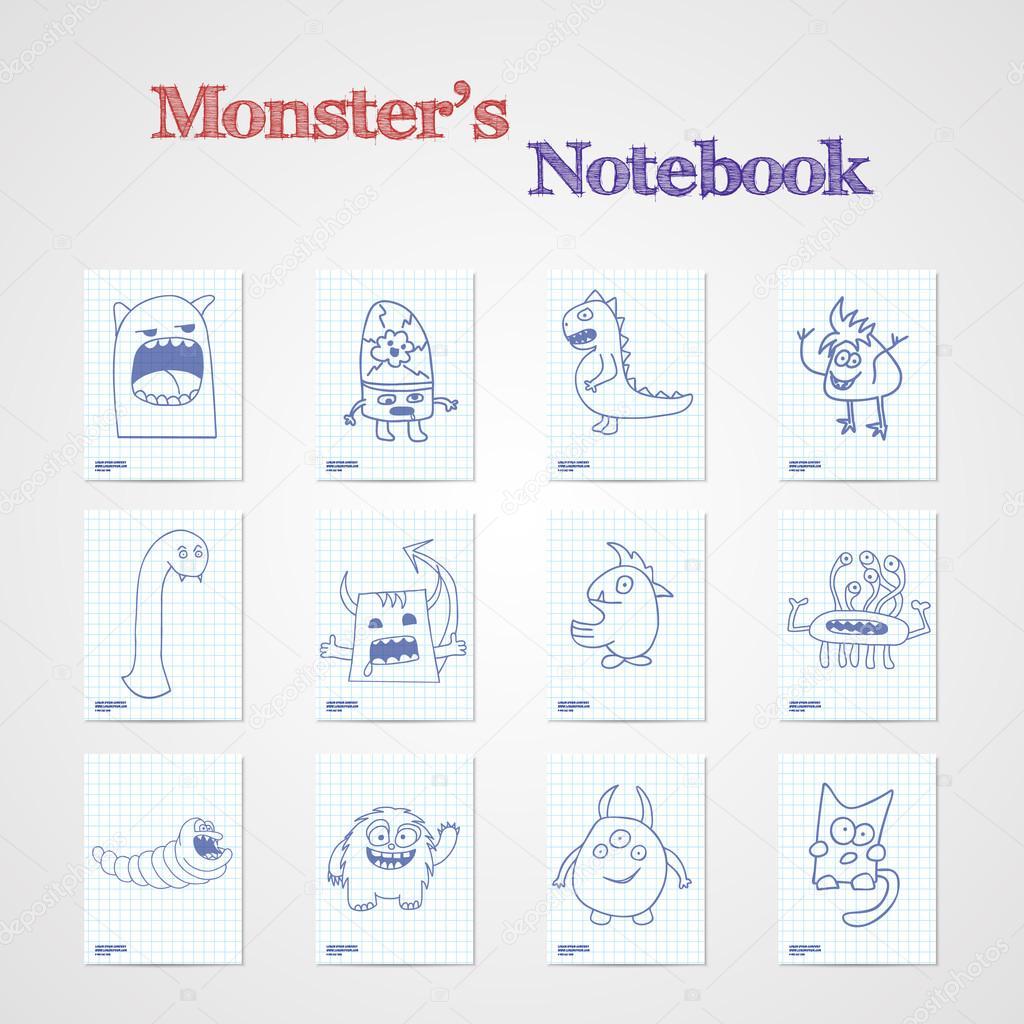 面白いモンスターと 8 つのノートのシートのセット ストックベクター