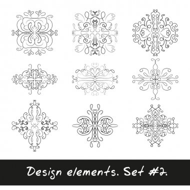 Round design element. Circle pattern in black color.
