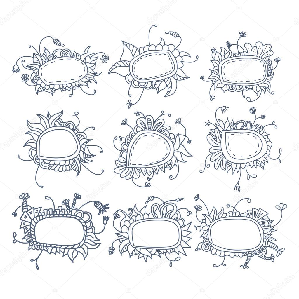 Set of round floral frames. Nine decorative elements for logo design with stripes braiding borders.
