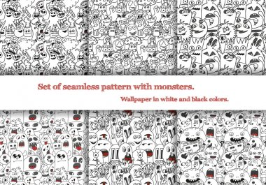 Set of abstract seamless patterns with doodle monsters. Six seamless patterns on art-boards and in swatches.