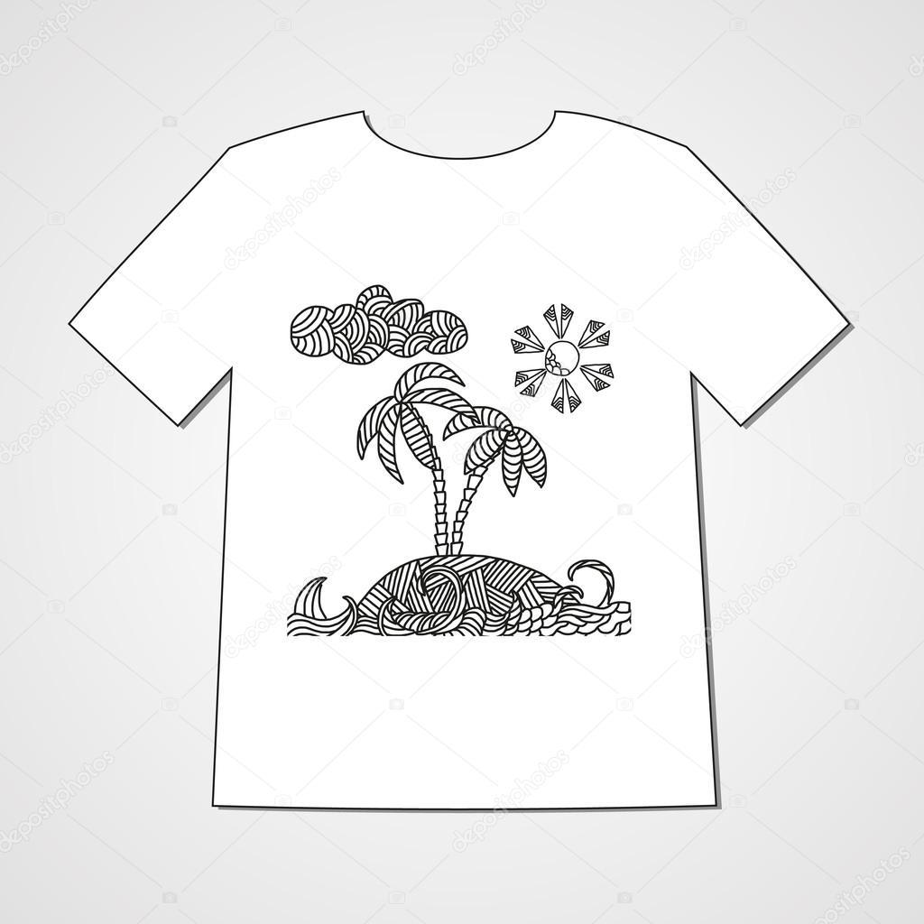 Hand-gezogene Gekritzel-Muster mit tropischen Insel mit Palmen und ...