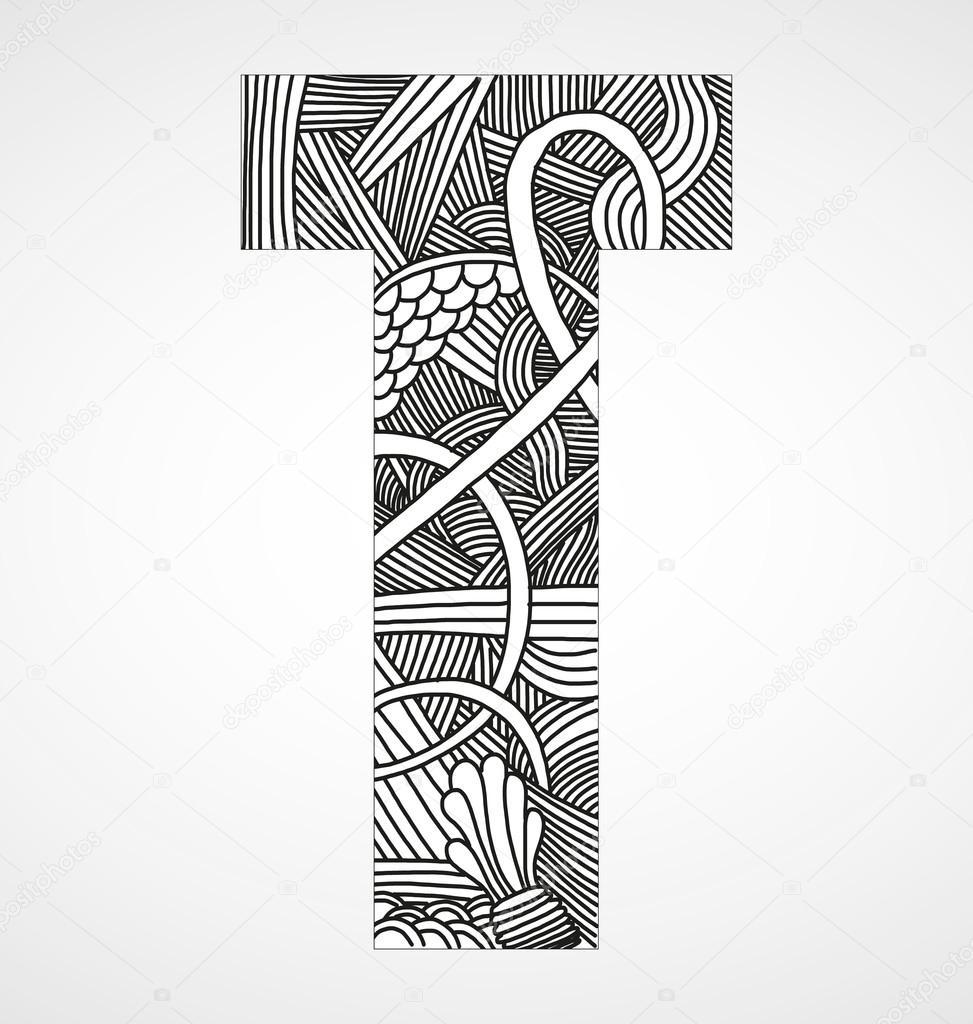 Letra t del alfabeto de doodle graffiti z harfi vector de