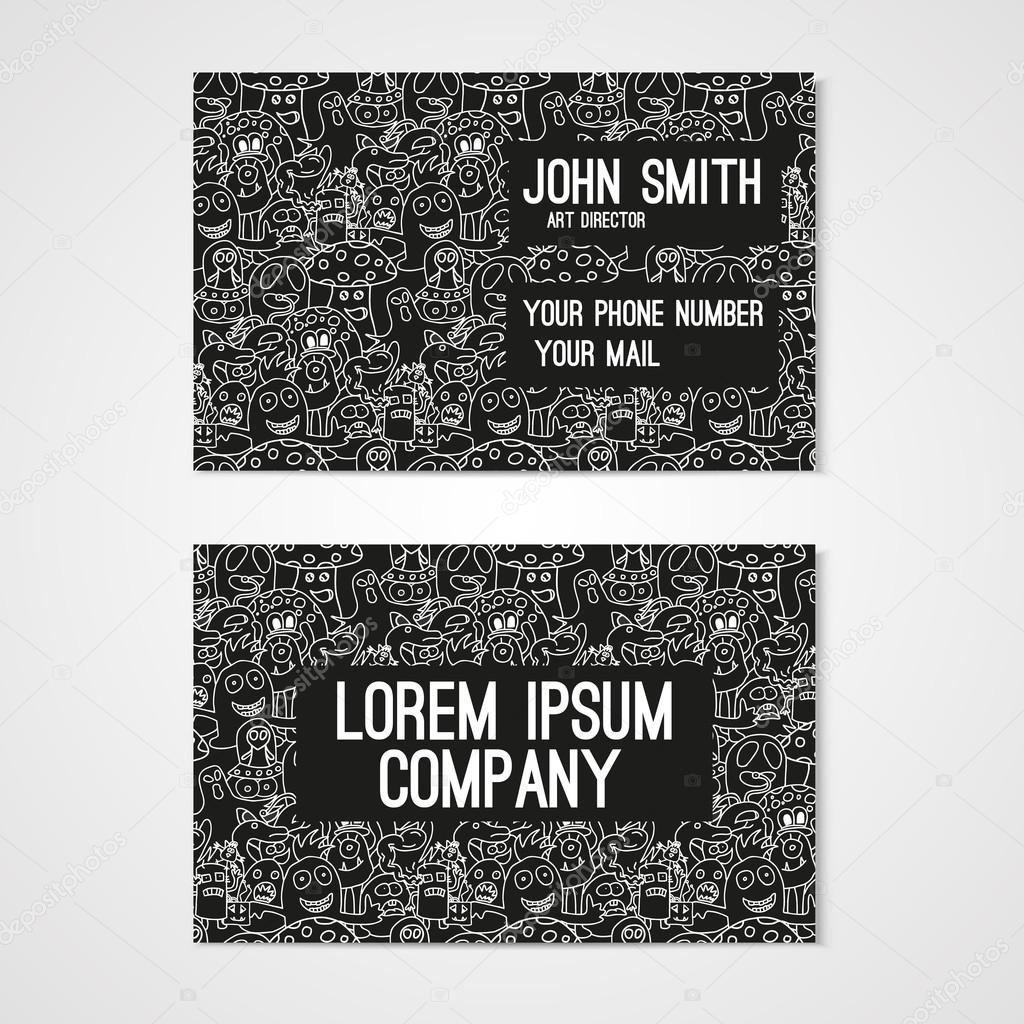 Business card template whit funny doodle monsters. Corporate ...