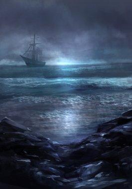 Cursed Flying Dutchman ghost ship artwork.