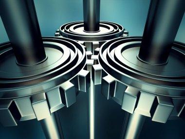Metallic Cogwheel Working Gears
