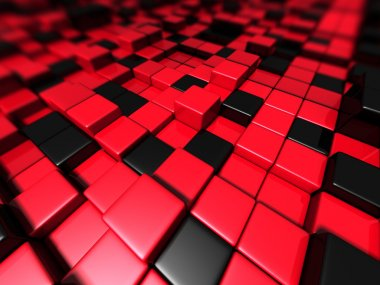Abstract Red Black Cubes