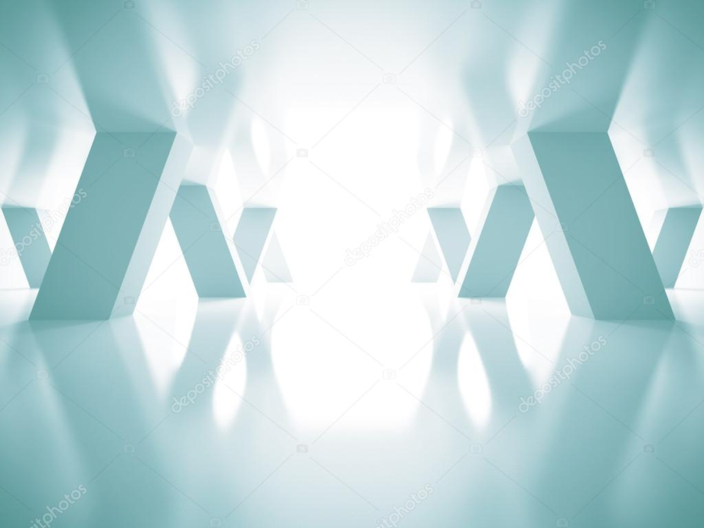 Abstract Blue Futuristic Architecture Background. 3d Render Illustration stock vector
