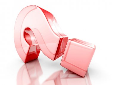 Red Glass 3d Question Mark