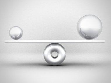 Balance Concept Big And Small Metallic Spheres