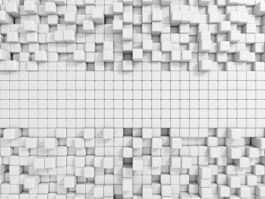 Abstract White Cubes Wall