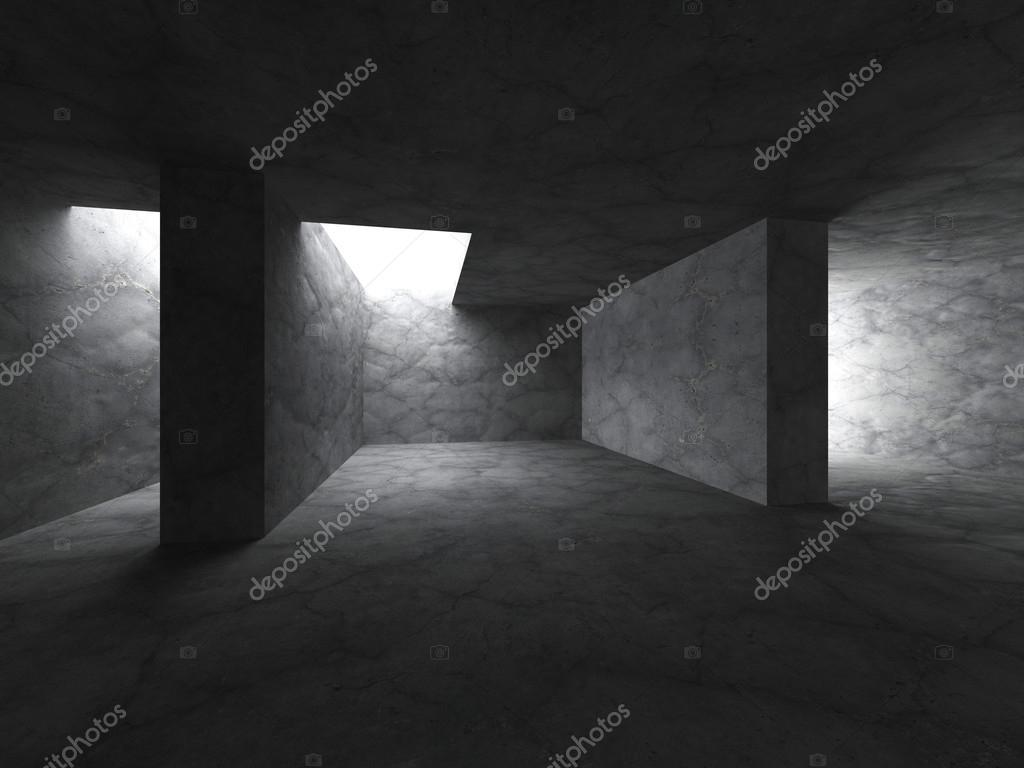Interior del cuarto oscuro de hormigón vacía — Fotos de Stock ...