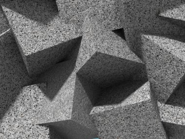 Chaotic concrete granite stone cubes