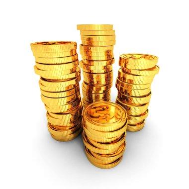 Stacks of golden dollar coins