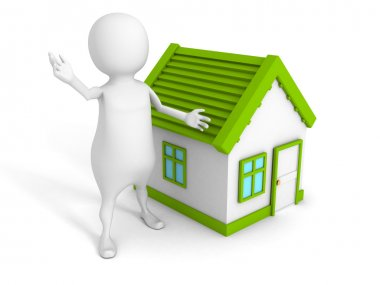 3d small person with small house. Real estate concept 3d render illustration stock vector