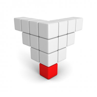 Different red cube of pyramid group
