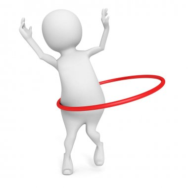 3d man plays hula hoop exercise
