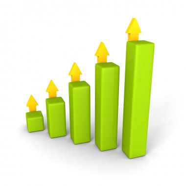 business bar graph with rising up succes arrows