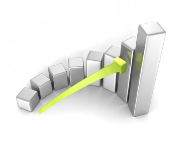 Business success bar chart with arrow