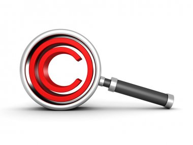 Magnifying glass with red copyright icon