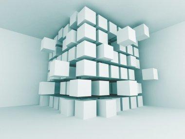 Abstract Blue Interior Blocks Design Background. 3d Render Illustration stock vector