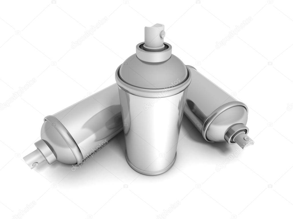 Spray Paint Cans On White Background Stock Photo