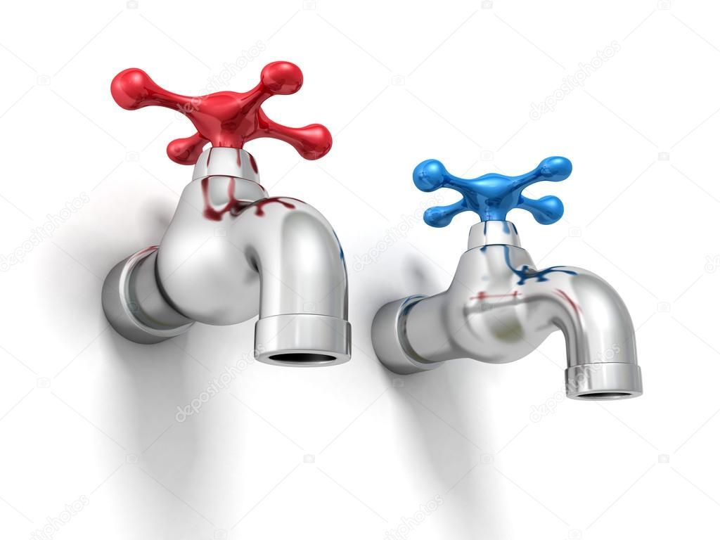 Llaves de grifo de agua fr a y caliente foto de stock for Imagenes de llaves de agua