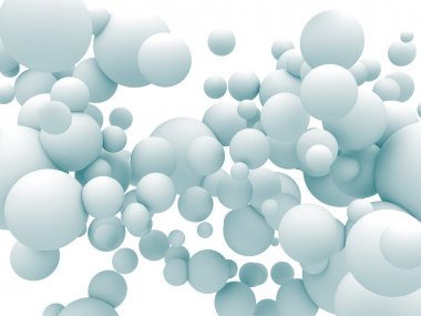 White Chaotic Spheres Particles Background