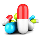 Colorful Medical Pills On White Background