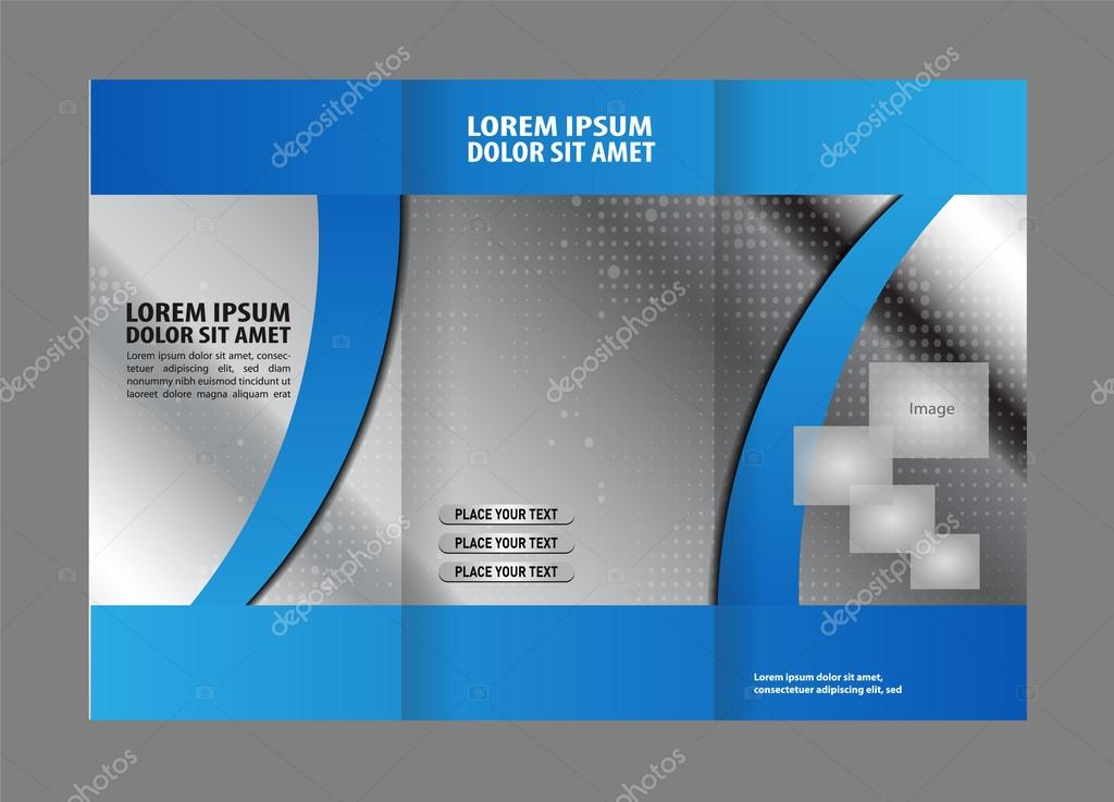Tri Fold Brochure Template Design With Blue Color Stock Vector
