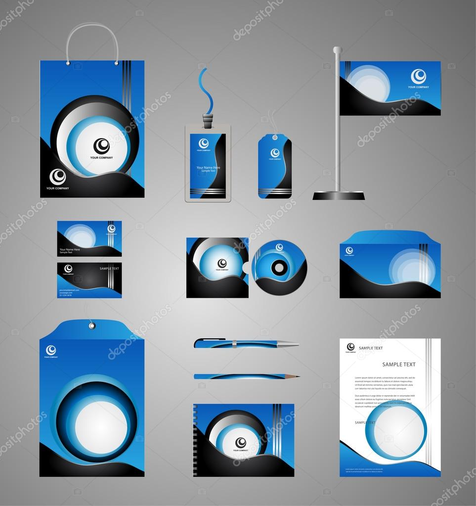 Blue business stationery template for corporate identity and blue business stationery template for corporate identity and branding stock vector cheaphphosting Gallery