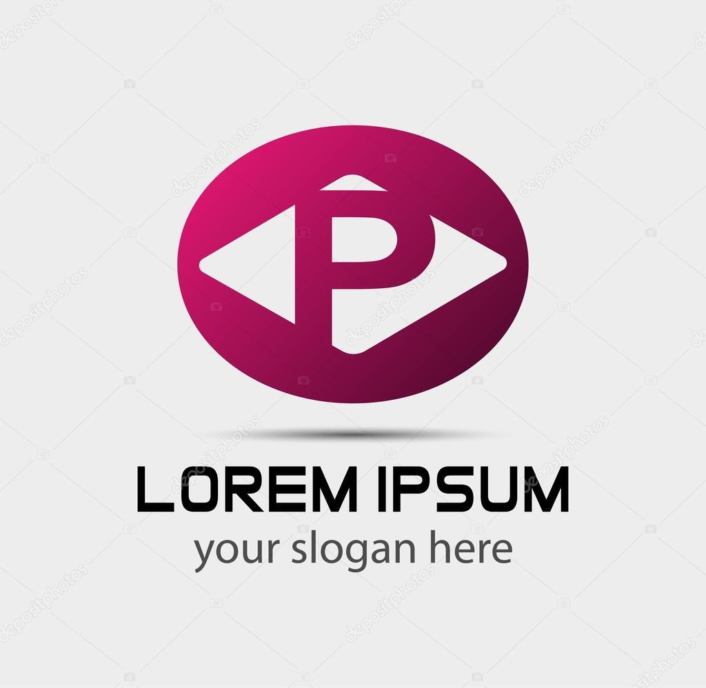 Elementos de plantilla de diseño de letra P logo icono — Archivo ...