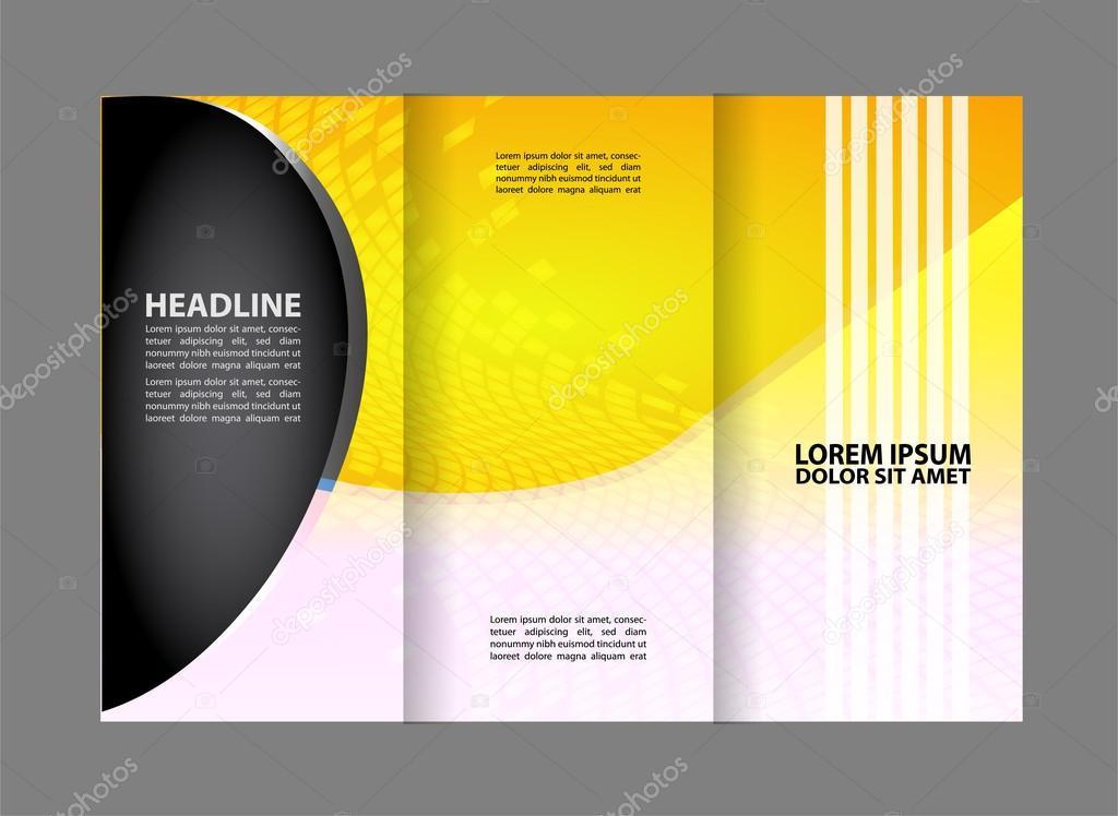 Vector empty tri-fold brochure print template design, trifold bright