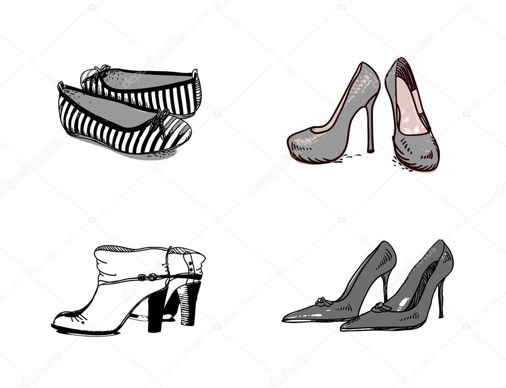 Verschiedene Schuhe Hand Gezeichnet Stockvektor C Jimmy238 51999263