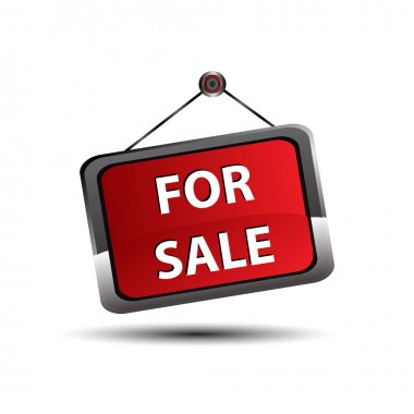 For sale icon banner, selling a house apartment or other real estate sign.