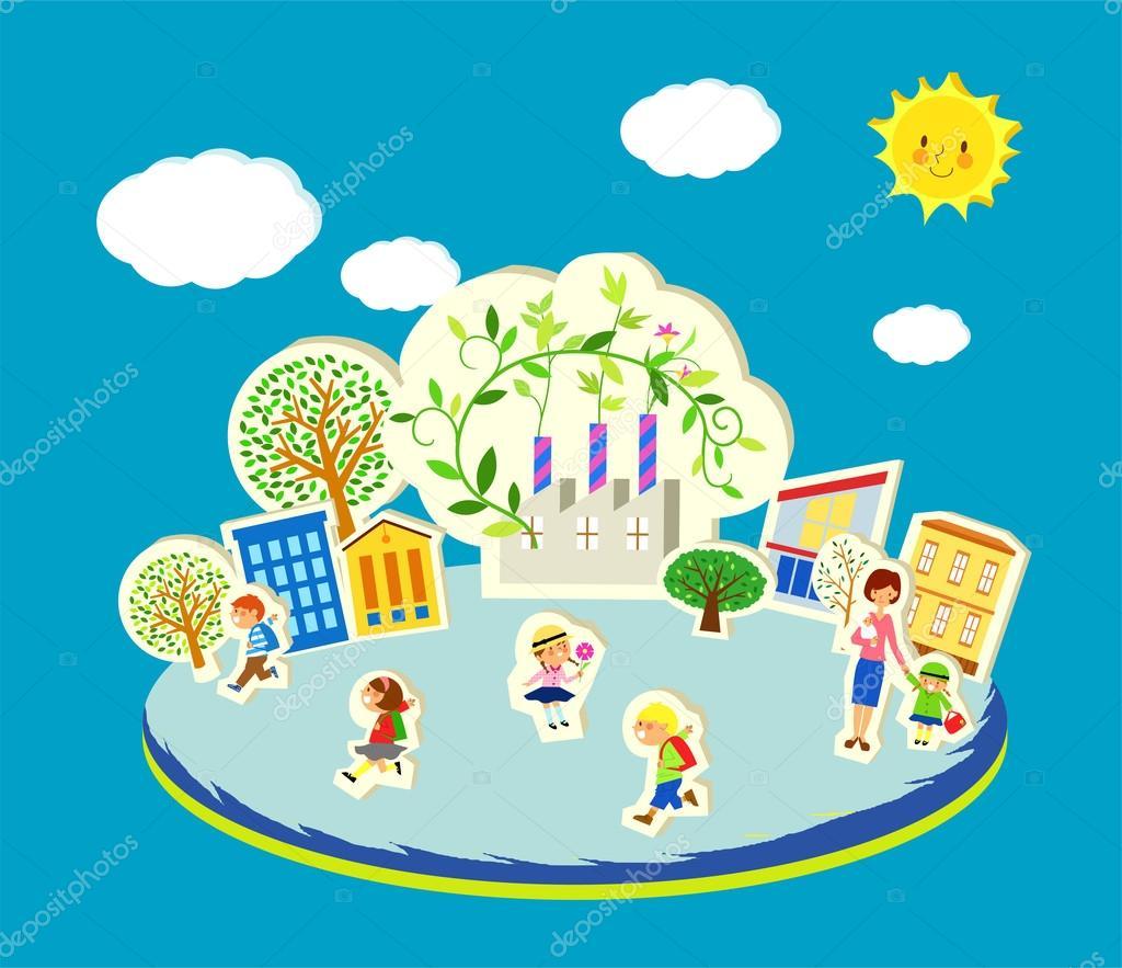 Imágenes Niños Llendo Ala Escuela Una Ilustración Vectorial De
