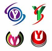 Fényképek Y betű logó ikonok beállítása vektor grafikai tervezés