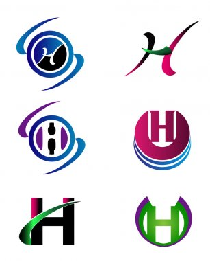 Letter H Company logo icon template set