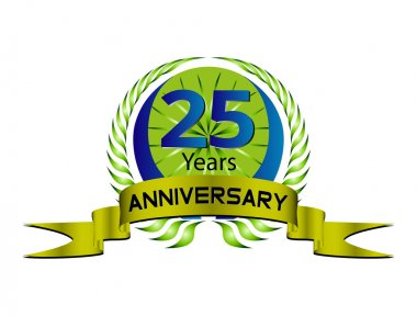 Celebrating 25 Years Anniversary - Green Laurel Wreath Seal with Ribbon