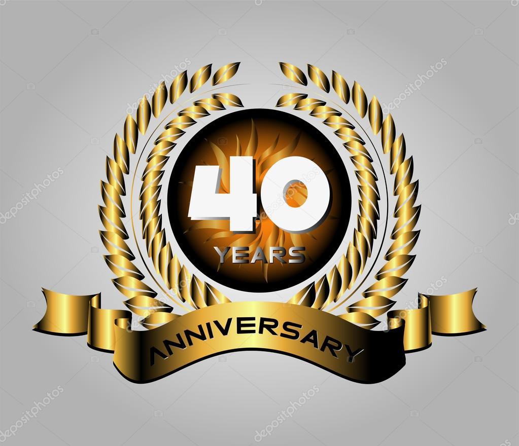40 Year Anniversary Golden Label 40th Anniversary Stock Vector