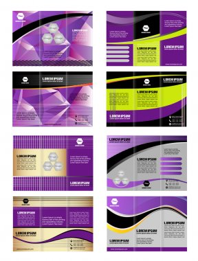 Professional three fold business template, corporate brochure or cover design, for publishing, print. Tri-fold purple layout with wave stripe