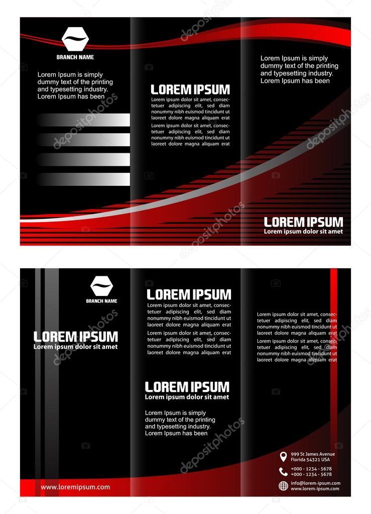 Black Brochure Tri Fold Template Stock Vector Jimmy238 74818057