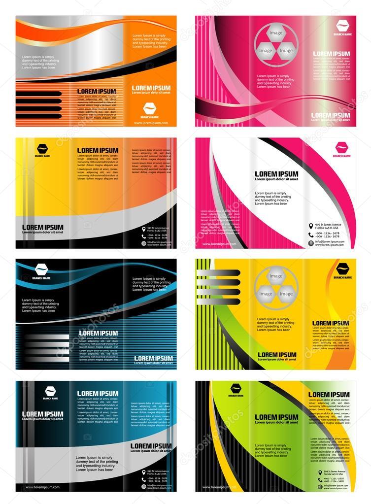 Set of tri-fold brochure template leaflet layout design