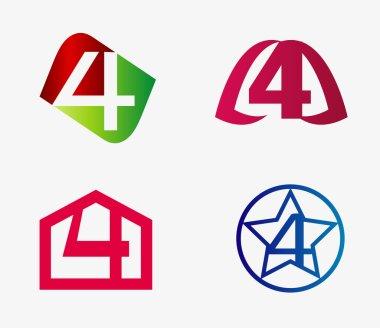 4 alphabet font number abstract, logo, symbol set