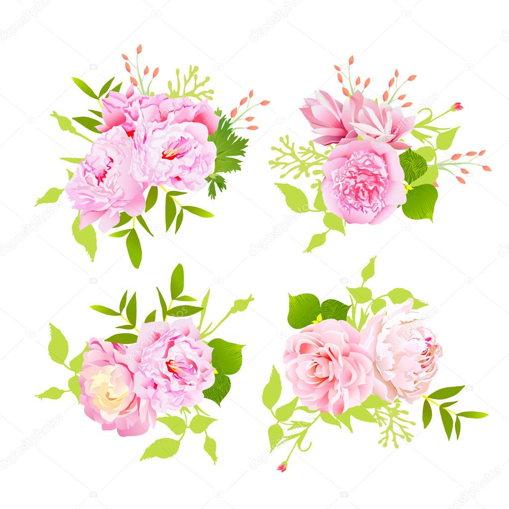 Sweet peonies bouquets vector design elements in shabby chic sty